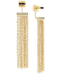 Vince Camuto Gold Tone Front And Back Fringe Earrings
