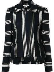 Veronica Beard Striped Pattern Biker Jacket Black