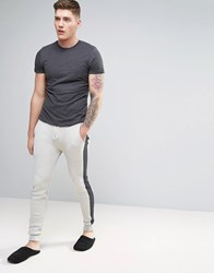 Asos Skinny Jogger In Waffle With Side Panel Oatmeal Grey