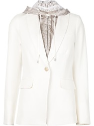 Veronica Beard Hooded Blazer White