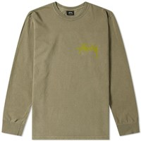 Stussy Long Sleeve Stock Pigment Dyed Tee Green