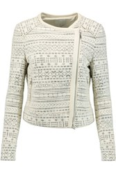 Joie Pattyn Leather Trimmed Cotton Blend Boucle Jacket Ivory