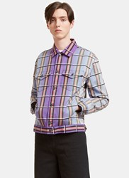 J.W.Anderson Faded Checked Canvas Twill Jacket Purple