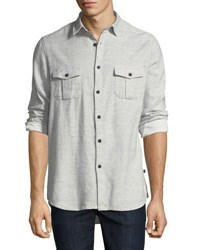 Civil Society Woven Button Front Shirt Gray