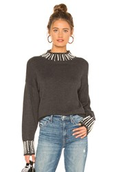 Central Park West Zinfandel Pearl Mock Neck Sweater Gray