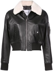 Derek Lam 10 Crosby Cropped Leather Flight Jacket With Shearling Black