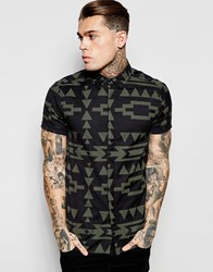 Asos Linen Shirt With Aztec Print In Short Sleeve Charcoal Black