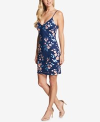 Guess V Neck Embroidered Sheath Dress Blue