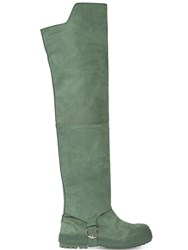 Jacquemus 20Mm Les Bottes Brushed Leather Boots Green