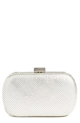 Whiting And Davis Mesh Oval Minaudiere Metallic Satin Silver