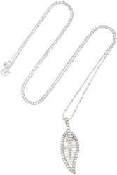 Anita Ko Large Leaf 18 Karat White Gold Diamond Necklace