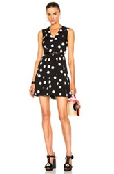 Dolce And Gabbana Sleeveless Polka Dot Dress In Abstract Black White Abstract Black White