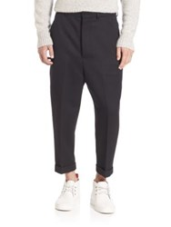 Ami Alexandre Mattiussi Oversized Carrot Fit Wool Trousers Black