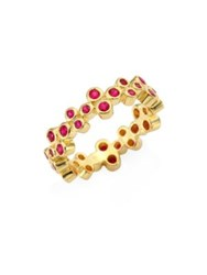 Temple St. Clair Trio Eternity Ruby Ring Yellow Gold
