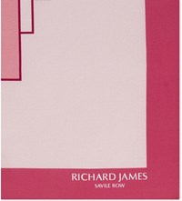 Richard James Deco Blocks Silk Pocket Square Pink
