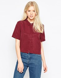 Native Youth Tencel Cropped Shirt Burgundy