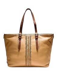Cole Haan Loralie Whipstitch Top Zip Leather Tote Camel