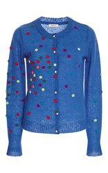 Manoush Bleu Dotty Button Up Cardigan Blue
