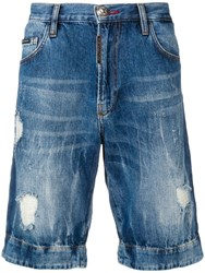 Philipp Plein Distressed Skull Shorts Blue