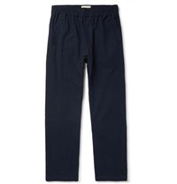 Folk Navy Tapered Linen And Cotton Blend Trousers Navy