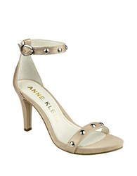 Anne Klein Ossana Studded Leather Ankle Strap Sandals Natural