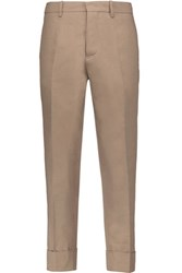 Marni Cotton And Linen Blend Straight Leg Pants Brown