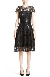 Talbot Runhof Women's Sequin Cutout Fit And Flare Dress Black