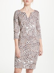 Oui Leo Print Dress Light Grey