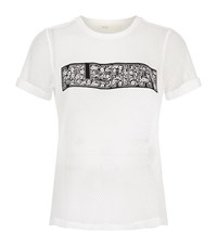 Maje Tele Mesh Motif T Shirt Female White