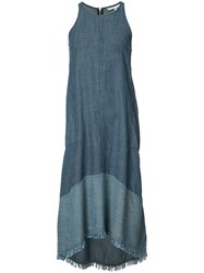 Trina Turk Sleeveless Denim Dress Women Lyocell Linen Flax Xs Blue