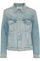Amo Starboard Distressed Denim Jacket Light Denim