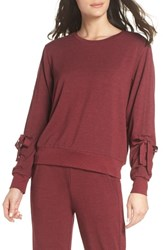 Zella Gather Sleeve Sweatshirt Red Tannin