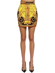 Versace Quilted Silk Twill Mini Skirt Multicolor