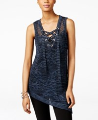 Inc International Concepts Metallic Lace Up Asymmetrical Tunic Only At Macy's Inkberry Marl