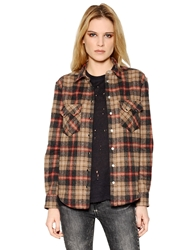 Iro Plaid Cotton And Wool Blend Shirt Brown