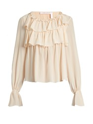 See By Chloe Ruffled Silk Top Nude