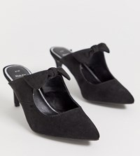 New Look Wide Fit Bow Mule In Black