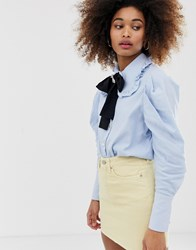 Sister Jane Jewel Button Shirt With Pussybow And Pooch Broach Detail Blue