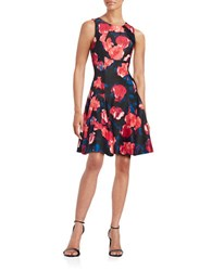 Ivanka Trump Printed Dropped Waist Dress Black Sunset