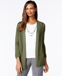 Alfred Dunner Petite Patterned Trim Layered Look Cardigan Top Olive
