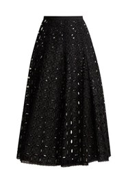Andrew Gn Broderie Anglaise Cotton Skirt Black