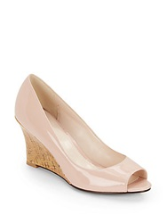Cole Haan Lena Patent Leather And Cork Peep Toe Wedges Rose