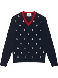 Gucci Wool V Neck With Bees And Stars Men Wool Xl Blue