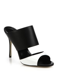 Manolo Blahnik Ripta Two Tone Leather Mule Sandals Black White