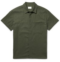 Simon Miller Slim Fit Cotton And Linen Blend Shirt Army Green