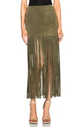 Theperfext Mimi Fringe Suede Skirt In Green