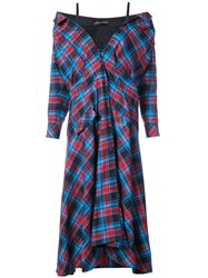 Anna October Plaid Maxi Dress Cotton S Red