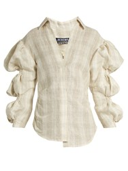 Jacquemus Puff Sleeved Silk Blend Shirt Ivory Multi