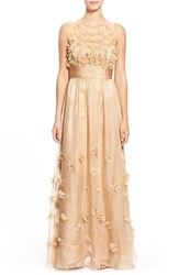 Women's Js Collections Floral Applique Chiffon Gown Champagne