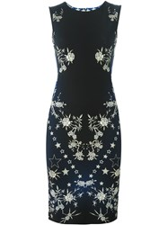 Roberto Cavalli Rose Print Sheath Dress Blue